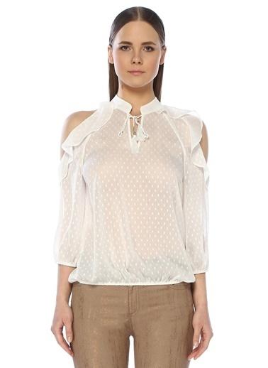 NetWork Kadın 1072952 Fırfır Detaylı Bluz Beyaz